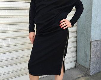 Oversize Asymmetric Dress / Long Sleeves Dress / Extravagant Black Kaftan / Loose Maxi Dress / EXPRESS SHIPPING