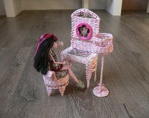 Barbie Doll Wicker Furniture Handmade Bedroom Set Pink Rose 1:6 scale. Fashion Royalty, Monster High, & Blythe dolls.Table Chair Floor Lamp.