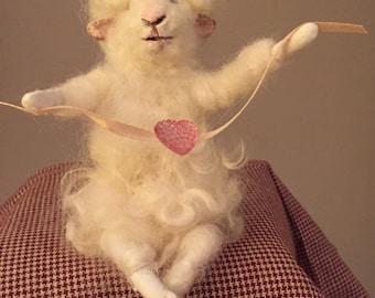Wool felted lamb