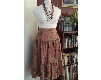 high waist boho skirt, pink hippie skirt, bohemian skirt, high waist skirt, pink rose skirt, tier skirt, two tier skirt