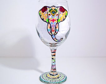 Elephant Gifts, Elephant Glass, Elephant Wine Glass, Hand Painted Wine Glasses, Sugar Skull, Anniversary Gifts, Gift for Her, Gift for Mom