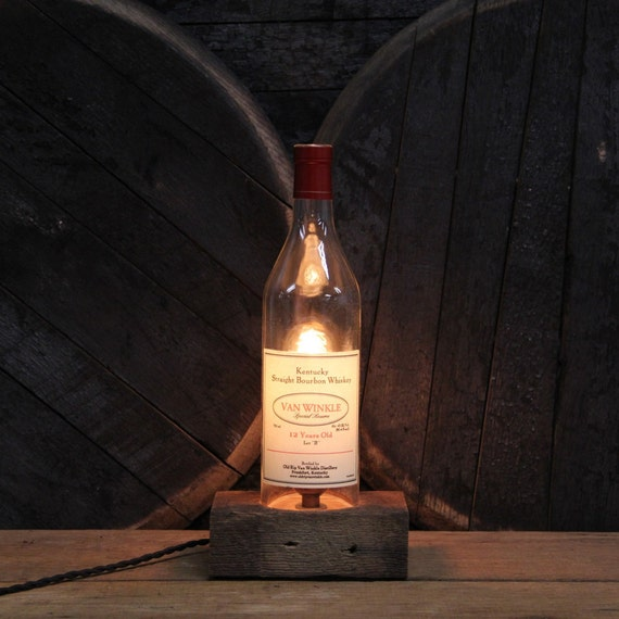 Handmade Recycled Van Winkle 12 Year Bottle Lamp-Features Reclaimed Wood Base, Edison Bulb, Twisted Cloth Wire, In line Switch & Plug