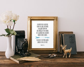 Nursery art print, Psalm 127, Bible verse, Scripture art, Nursery wall art, Christian wall art, Home decor, Arrow quote, Digital art BD-920
