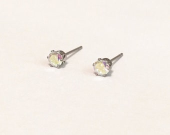 Aurora Borealis Crystal (4mm) with Silver Stainless Steel Post Stud Earrings(ERN-26), 316L Surgical Steel, Silver Crystal Earrings