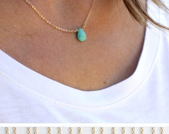Teardrop Gemstone Necklace/Dainty Turquoise Pendant /Minimal Layering Necklace/ Gift for Wife/ Gift for Her /Bridesmaid Gift/ Christmas Gift