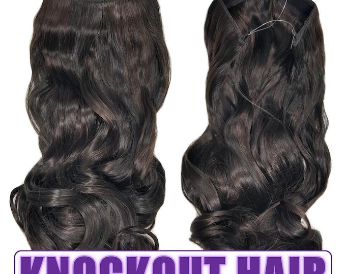 "Fits like a Halo Hair Extensions 20"" - 150 Grams 100% Premium Fiber Wavy Hair (Natural Black/Dark Chocolate Brown P#02/04L)"