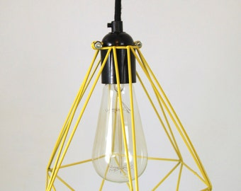 Diamond Cage Pendant with bakelite lampholder