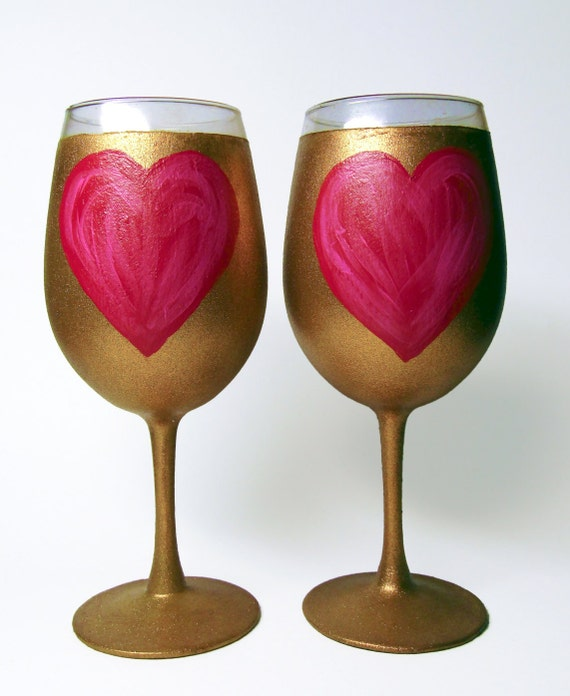 Hand Painted Wine Glasses Set Of 2 Unique Design Red And