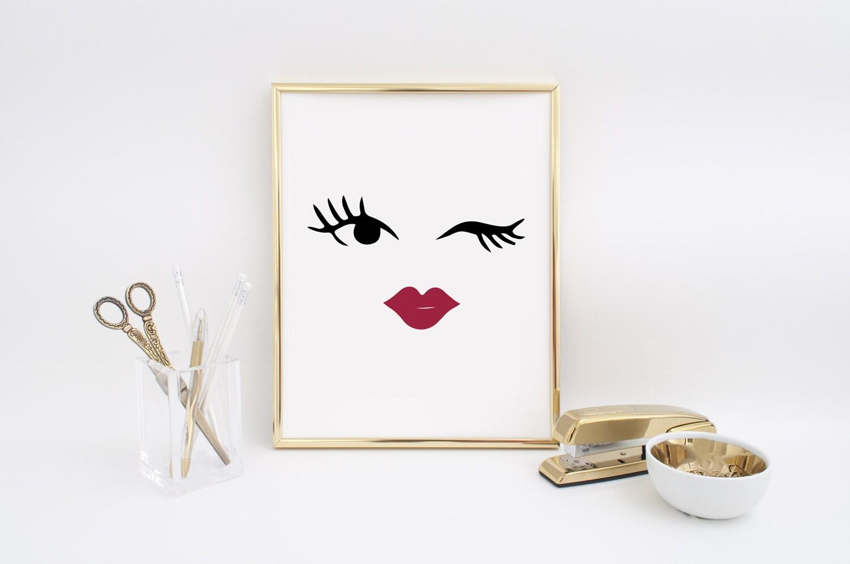 Makeup blinked eye print wall decor minimal wall art beauty for Minimal art wall
