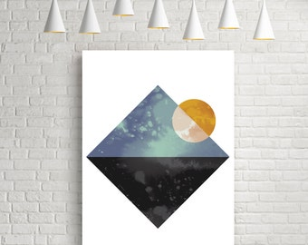 Wall art, wall art prints, art prints, giclee art print, geometric wall art, geometric wall art print, geometric print, wall print, sea, sun