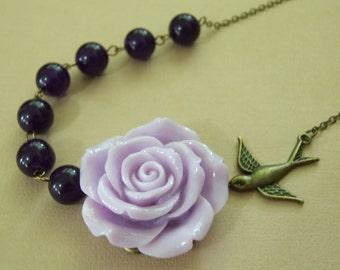 Purple Necklace, Purple Rose, Purple Gemstones, Statement Necklace, Bird Necklace