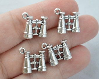 5 Pcs Binoculars Charms Telescope Charms Antique Silver Tone 3D 15x14mm - YD0913
