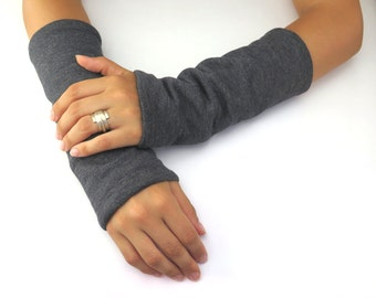 Arm Warmers Gray And Black, Gift For Her, Fleece Arm Warmers, Jersey Gloves, Fingerless Gloves