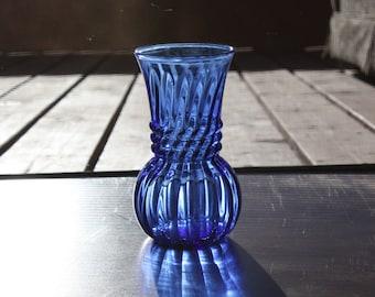 Vintage Anchor Hocking, Blue Swirl Bulb Glass Vase