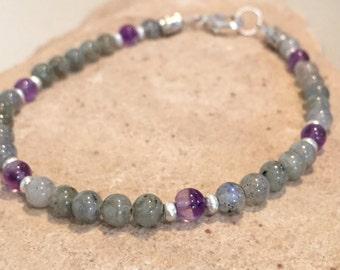 Gray and purple bracelet, labradorite and amethyst bracelet, Hill Tribe silver bracelet, natural bracelet, gemstone bracelet, sundance style