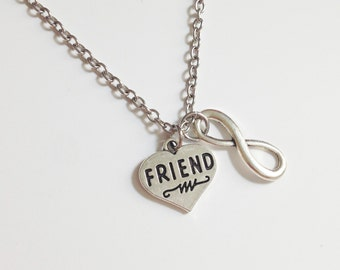 Friend necklace - infinity friend necklace - heart charm - love necklace - forever friend - bff - friendship - Christmas gift
