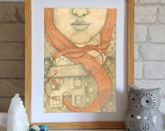 Art illustration Print - Girl with Red Hair - surreal art - pencil drawing - girl illustration - girl print - red hair drawing - wall art