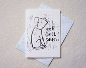 Get well soon Dog in cone Lino print Linocut puppy hand printed greeting card in black ink. Free UK Shipping