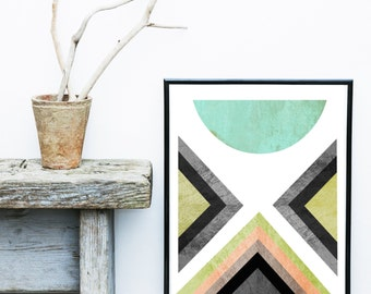 Blue Abstract Art Print, Geometric Art, Triangle Art, Printable Art, Scandinavian Art Print, Geometric Print,   Instant Download