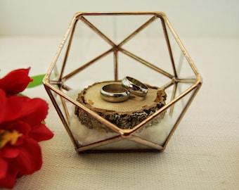 Wedding Ring Holder, Ring Bearer Box, Glass Ring Pillow, Ring Holder, Jewelry Box, Wedding Ring Box, Proposal Ring Box, Terrarium, Copper