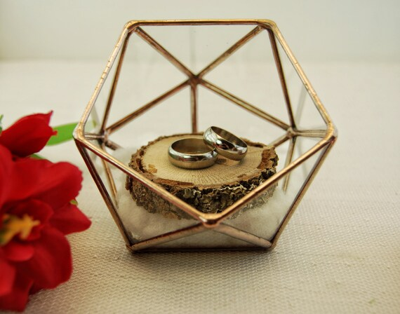 Wedding ring holder ring bearer box glass ring pillow ring for Wedding ring holder box