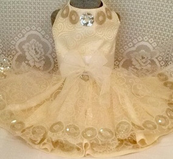 Yellow Brocade Harness Dog Party Dress Full Layered Circle Skirt Gold Sequins Trim