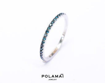 Blue Diamond Eternity Ring 18k 14k . Full or Half Eternity Band . Wedding Band Micro Pave Ring . Solid Yellow White Gold . Polamai