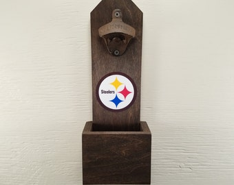 Wall Mounted Bottle Opener, Pittsburgh Steelers, Bottle Cap Catcher, Football