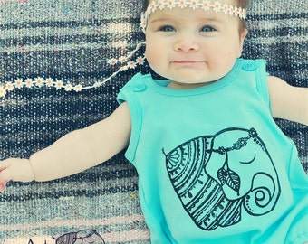 Elephant romper, Baby or toddler summer romper, Baby bubble romper, Bohemian romper, hippie baby outfit, Bohemian unisex baby outfit