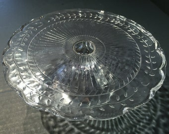 Vintage Jeannette Cake Stand, Vintage Jeannette Glass Co. Patterned 9 inch Crystal Cake Tray, Circa 1939-1945, Wedding Gift