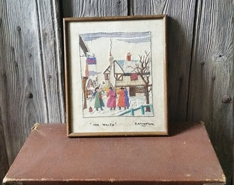 Vintage Mid Century Framed Hand Embroidered Picture of The Waits in Norfolk