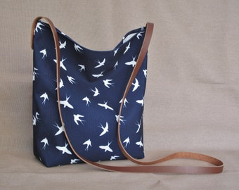 Navy swallows crossbody bag, slouchy cross body, canvas bag, shoulder bag, real leather strap