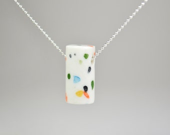 Multicolor porcelain necklace, silver ball-chain. Dalmatians terrazzo. Minimalist geometrical abstract jewel, thin necklace