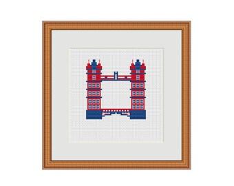 London cross stitch, Tower bridge, London bridge, London city, London town, Cross stitch chart, Printable PDF, Cross stitch PDF, Xstitch PDF