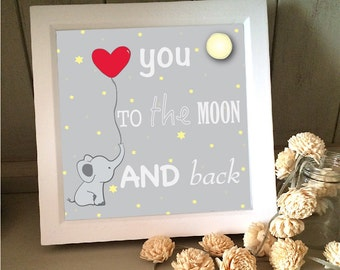 elephant love you to the moon and back print in frame