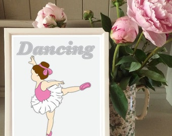 Cute Ballerina print for girls bedroom/nursery/playroom/gift (without frame)