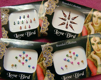 46 bindis - 4 bindi packs designer bollywood bindis / belly dance bindis / bindi stckers, body art tattoos