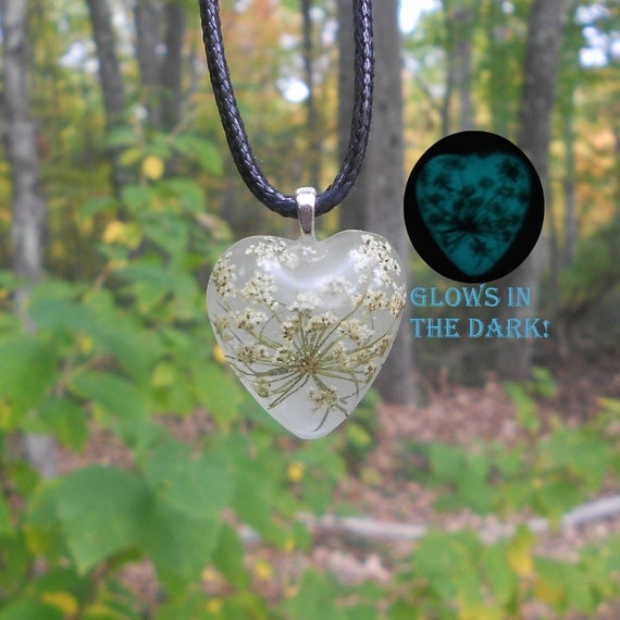 Ground Elder, Glow in the Dark, Pressed Flower,  Gift for her, Necklace, White, Aqua Blue, Christmas Gift, Real Flower