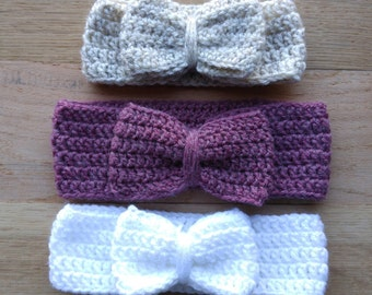 Free shipping! Crochet baby headband with bow, Made to Order