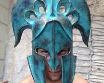 Spartan Helmet,Ancient Greek Helmet,Military Аrmor,Larp Helmet,Cosplay Helmet,Quality Art Museum,Replica Greek sculpture,Masquerade Mask