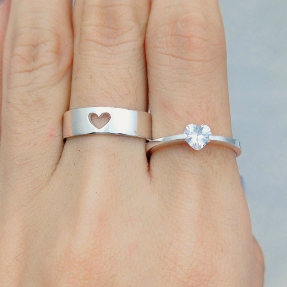 Heart Couples Ring Couple Ring Set His and Her by JewelryRB