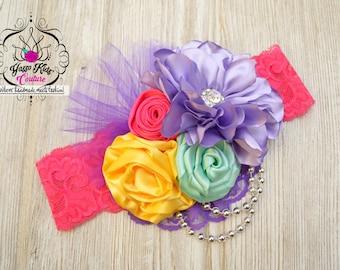 YKC Brilliant Couture Headband, Colorful Couture Headband, Multicolor Headband, Rainbow Headband, Baby Headband,