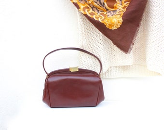 French vintage 1950s Leather Purse / Pristine NEAT 50s 60s Mod Kelly Handbag Maroon Burgundy Hard Sided Evening Purse Found & Made in France