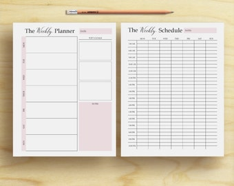 weekly planner, weekly organizer, weekly plan, weekly schedule, Letter, A4, A5, 2 page weekly planner, wo2p