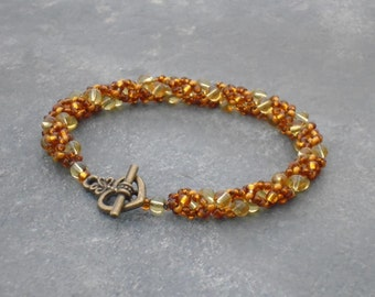 Autumn Hazel Leaves, Light Brown Beaded Rope Bracelet, in brown and cinammon Czech seed beads and crystal glass round beads, UK seller