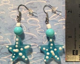 Seaglass Starfish Earrings Aqua Blue