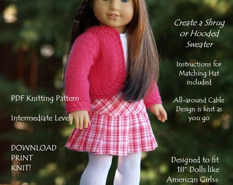 "Curved & Cabled-AG-PDF knitting pattern for 18"" dolls like American Girls--Grace's Gifts"