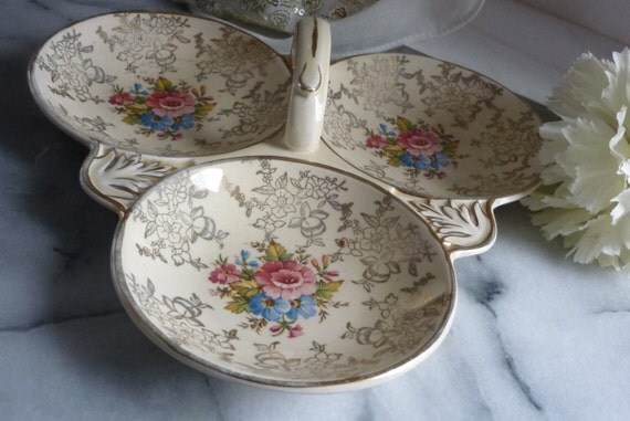 """Vintage """"Golden Bouquet"""", serving platter Weatherby Hanley Royal Falcon Ware, Floral china Trefoil divided dish, 3 part, with center handled"""