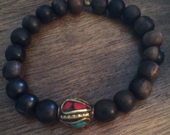 8mm Wooden Beaded Bracelet with Tibetan Bead