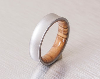 Titanium and Olive Rings // Mens Wood Rings //wood Wedding Band //Men's wedding Band